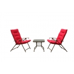 folding outdoor steel chair with cushions