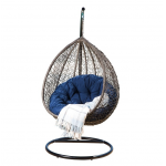 Wicker Patio Swing Chair, Stand, Navy