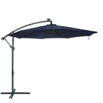 Steel 10' Offset Solar LED Patio Umbrella